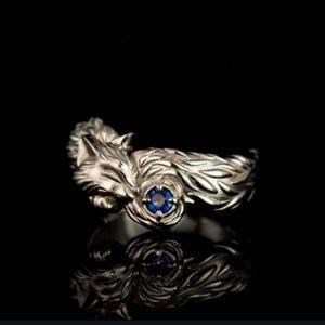 NWT Boho Silver Fox 5 Ring Blue Stone!